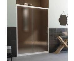 Duschtür in PVC 170 CM H190 Satiniert Chinchilla mod. Glax 1 Tür weißes Profil