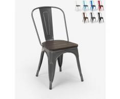 Tolix Industriestahl Holzstühle für Küche und Bar Steel Wood | Dunkel Grau