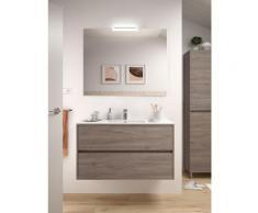 Badezimmer Badmöbel 100 cm aus Eiche eternity Holz mit Porzellan Waschtisch | 100 cm - mit Kolonne