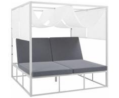 Sonnenbett Weiß / Grau mit Sonnendach Aluminium / Polyesterauflagen verstellbare Sitzplätze