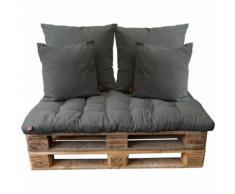 5tlg Palettenkissen-Set, Castor Grey / 120x80cm / 2x(65x65cm) / 2x(45x45cm) Sitzkissen Polsterkissen