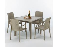 Polyrattan Tisch quadratisch mit 4 bunten Stühlen 90x90 Beige ELEGANCE | Bistrot Arm Beige Jute