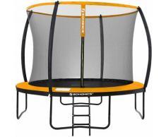 Trampolin Ø 366 cm, rundes Gartentrampolin mit Sicherheitsnetz, mit Leiter und gepolsterten