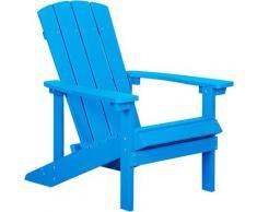 Gartenstuhl Blau Holzwerkstoff breite Armlehnen Muskoka Adirondack Stil Terrasse Outdoor