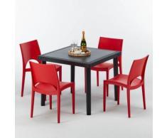 Polyrattan Tisch quadratische mit 4 bunten Stühlen 90x90 Schwarz BLACK PASSION   Paris Rot
