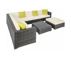 Rattan Lounge mit Aluminiumgestell Marbella - Gartenlounge, Terrassenmöbel, Rattan Lounge - grau