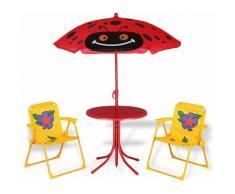 Kindersitzgruppe Beetle - Deuba - 2 Stühle und 1 Tisch - höhenverstellbarer Sonnenschirm
