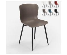 Moderner Designstuhl aus Polypropylen und Metall für das Restaurant in der Küchenbar Chloe | Dunkel