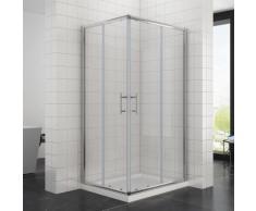 1200x700x1950mm Duschkabine Eckeinstieg Doppel Schiebetür mit Duschtasse Echtglas Duschwand - Sonni
