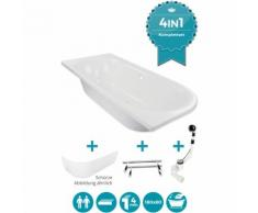 Calmwaters® Rechteck Badewanne Komplettset 180x80 cm mit Schürze, Wannenfüßen & Ablaufgarnitur,