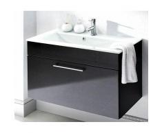 Badezimmer Waschtisch 90cm mit Glas-Waschbecken weiß HERONAS-02 Hochglanz anthrazit, B/H/T ca.: