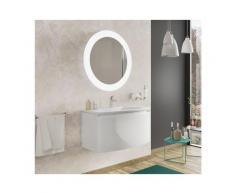Badezimmer Badmöbel 80 cm Venere aus glänzend weiß Holz mit Keramik Waschtisch und Spiegel |