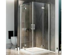 Duschkabine 120x120 CM H190 Klarglas mit Easy-Clean Mod. Flip Tür + Tür schwenk Öffnung