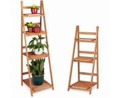 2 tlg. Blumentreppen Set, Blumenständer für Innen, Mehrstöckig, Leiterregal, Pflanzentreppe,