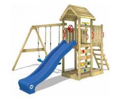 Spielturm Klettergerüst MultiFlyer Holzdach mit Schaukel & blauer Rutsche, Kletterturm mit