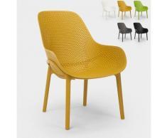 Moderne Designstühle für Küche und Bar aus Polypropylen Majestic | Gelb
