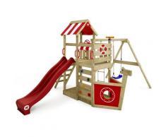Spielturm Klettergerüst SeaFlyer mit Schaukel & roter Rutsche, Baumhaus mit Sandkasten,