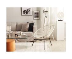 Beliani - Gartenstuhl 2er Set Weiß Polyrattan Spaghetti-Optik Modern Mexikanischer Stil Outdoor
