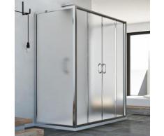 Replay Trio 2 Türen 3-seitige Duschkabine 70x160x70 CM H185 Strukturglas