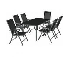 Aluminium Sitzgruppe 6+1 - Gartentisch, Gartenstuhl, Sitzbank - dunkelgrau