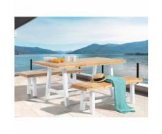 Gartenmöbel Set Holz weiß/braun SCANIA