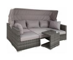 Rattan Lounge mit Aluminiumgestell San Marino - Gartenlounge, Terrassenmöbel, Rattan Lounge - grau