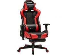 Songmics - Gaming Stuhl, Bürostuhl, ergonomischer Schreibtischstuhl, ausziehbare Fußstütze,