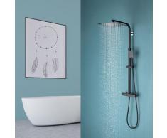 Modern Duschsystem Schwarz Duschset Duschsäule Duscharmatur Set Regenduschset, Schwarz - Auralum