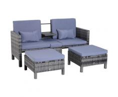 Outsunny® 3-tlg. Gartensofa Gartenmöbel Lounge Rattanmöbel Grau Polyrattan + Metall 2er-Sofa 2 x