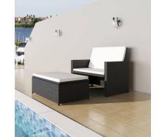 2-tlg. Garten-Lounge-Set mit Auflagen Poly Rattan Schwarz - Youthup