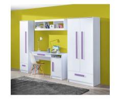Kinderzimmer Set A Walter, 4-teilig, Farbe: Weiß Hochglanz / Lila