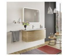 Badezimmer Badmöbel 100 cm Venere aus Eiche Gold Holz mit Keramik Waschtisch und Spiegel | Standard