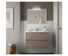 Badezimmer Badmöbel 90 cm aus Eiche eternity Holz mit Porzellan Waschtisch | mit spiegel und LED
