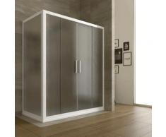Duschkabine in PVC 150x70 CM H190 Satiniert Chinchilla mod. Star weißes Profil