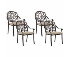 Beliani - Stuhl 4er Set Gartenstuhl Balkonstuhl Aluminium 4 Sitzkissen Dunkelbraun