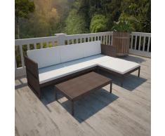 Asupermall - 3-Tlg. Garten-Lounge-Set Mit Auflagen Poly Rattan Braun