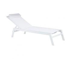 Gartenliege Weiß Aluminium Polyester Kopfkissen Terrasse Modern