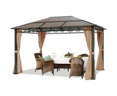 Gartenpavillon 3x4 m wasserdicht ALU DELUXE Pavillon mit 4 Seitenteilen Partyzelt in taupe