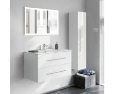Badmöbel-Set in weiß Hochglanz HELLA-02 mit breitem Waschbecken B/H/T ca. 150/200/46cm