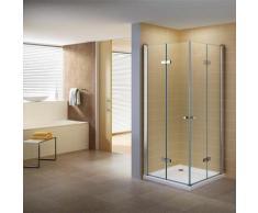 Duschkabine 115x115 Eckkabine mit Falttüren Nano Klarglas