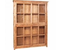 Bücherregal mit Vitrine mit Doppelschiebetüren aus massivem Lindenholz mit natürlichem Finish