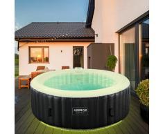 AREBOS In-Outdoor Whirlpool Spa Pool Wellness Massage aufblasbar rund mit LED