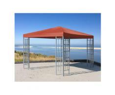 Rank Pavillon 3x3m Metall Garten Partyzelt Terra / Rotorange RAL 2001