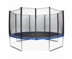 Rundes blaues Trampolin Ø 430cm mit Schutznetz - Vénus - Gartentrampolin 430 cm 4m   PRO Qualität.
