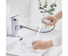 Auralum Wasserhahn fürs Bad mit herausziehbare Brause | Mischbatterie für Waschtisch und Badezimmer