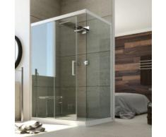 Duschkabine in PVC 100x80 CM H190 Klarglas mod. Glax weißes Profil