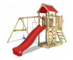 Spielturm MultiFlyer Klettergerüst Spielplatz mit Schaukel, Kletterwand, blauer Rutsche und blauer
