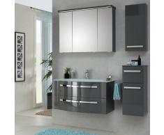 Lomadox - Badezimmermöbel Set mit 92cm Glaswaschtisch FES-4005-66 steingrau lackiert, B/H/T: