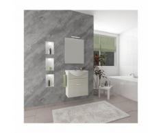 Badezimmer Badmöbel 55 cm Holly aus Eiche Weiß Holz mit Schublade und Keramik Waschtisch | mit