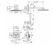 UP-Duschsystem SmartControlMischer 34709 rund mit 3 ASV chrom - Grohe